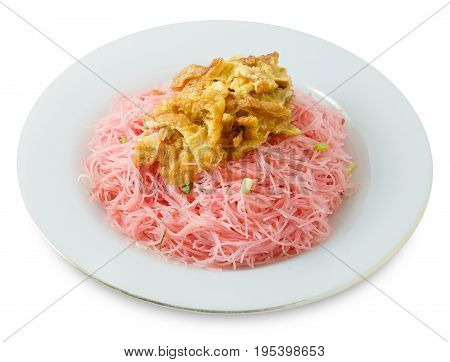 Thai Cuisine and Food Delicious Red Stir Fried Rice Vermicelli Served with Julienne Omelet and Chopped Scallion Isolaed on White Background.