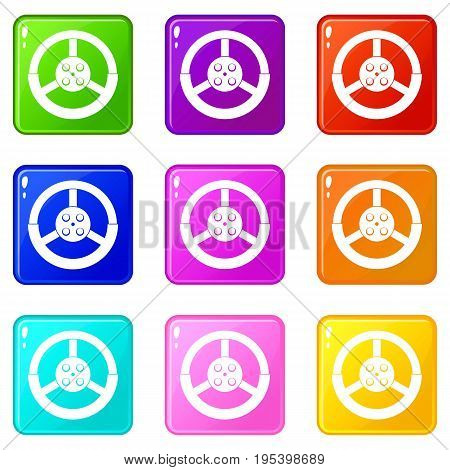 Steering wheel icons of 9 color set isolated vector illustration