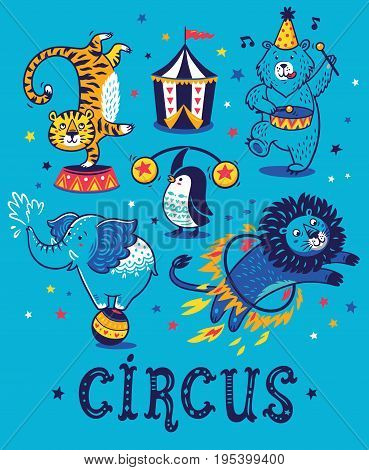 Carnival wallpaper design with cartoon animals. Circus character set with tiger, bear, lion, lion, penguin and bear