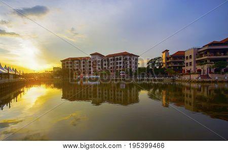 MALACCA MALAYSIA - March 12 2017: Sunset view at Malacca River