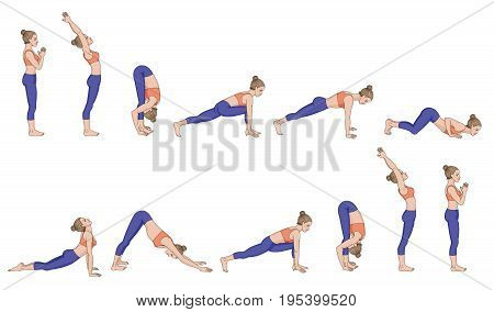 Sun salutation. Surya namaskara. Yoga sequence Vector illustration