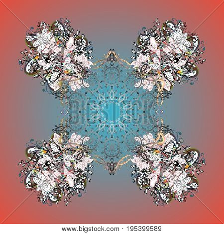 Abstract vector snowflakes on colorful background ornamental pattern. Hand drawn design with abstract winter doodles. Merry Christmas and Happy New Year lettering quote.