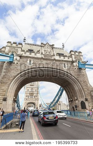 LONDON UNITED KINGDOM -JUNE 22 2017: Tower Bridge on the River Thames. The bridge is a symbol of the city and a great attraction for tourists