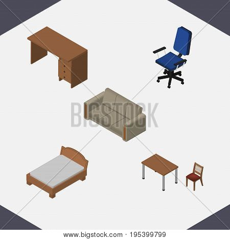 Isometric Design Set Of Couch, Chair, Bedstead And Other Vector Objects. Also Includes Armchair, Bed, Chair Elements.