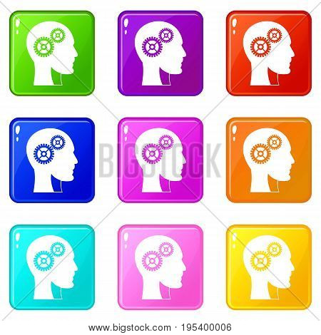 Gears in human head icons of 9 color set isolated vector illustration