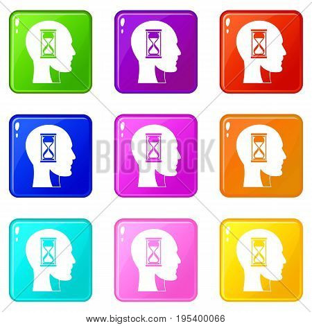 Hourglass in head icons of 9 color set isolated vector illustration