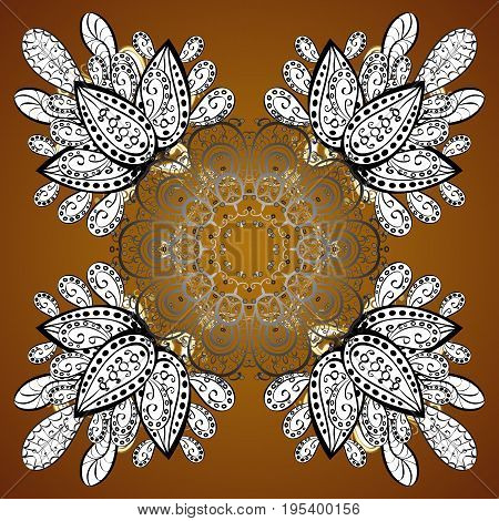 Flat design with abstract snowflakes isolated on brown background. Vector snowflakes background. Snowflakes pattern. Golden snowflake.