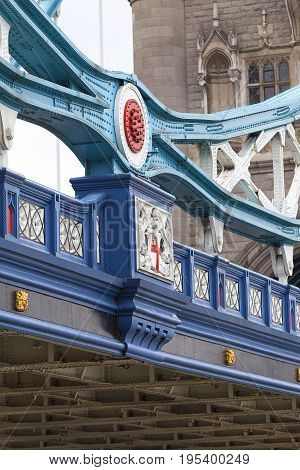 Tower Bridge on the River Thamesdetails London United Kingdom. The bridge is a symbol of the city and a great attraction for tourists
