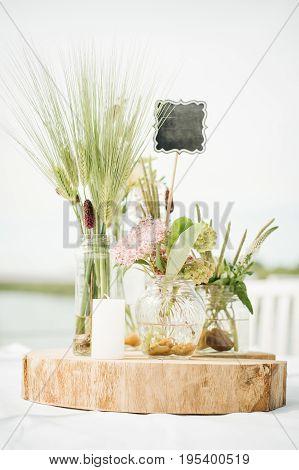 Wedding Decorative Floral Flower Bouquet Arrangement On The Table