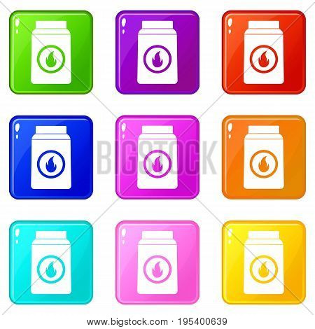 Matchbox icons of 9 color set isolated vector illustration