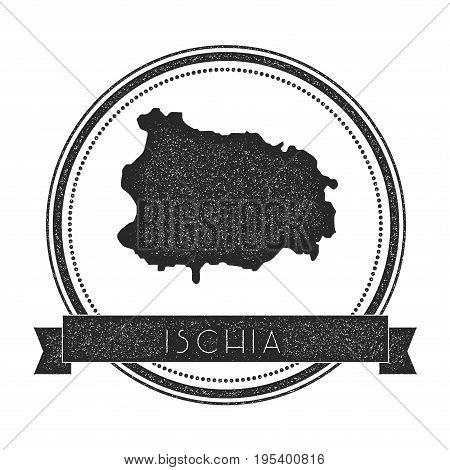 Ischia Map Stamp. Retro Distressed Insignia. Hipster Round Badge With Text Banner. Island Vector Ill