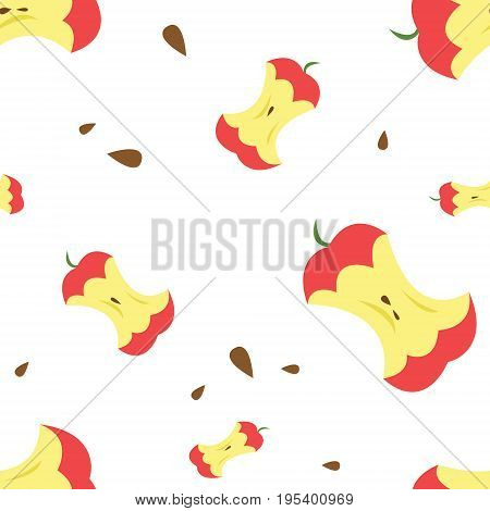 A eaten red apple with seeds. Pattern. Vector illustration on white isolated background.