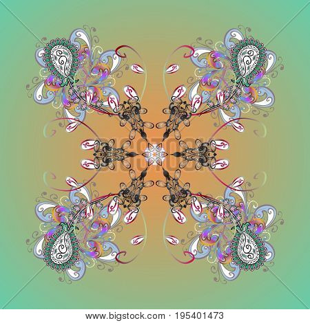 Christmas frame with abstract snowflakes and dots on colors background. Vector illustration. Snowflake frame.