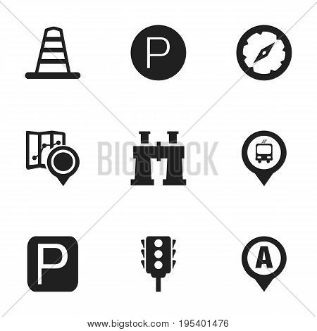 Set Of 9 Editable Map Icons. Includes Symbols Such As Magnet Navigator, Road Sign, Gps And More. Can Be Used For Web, Mobile, UI And Infographic Design.