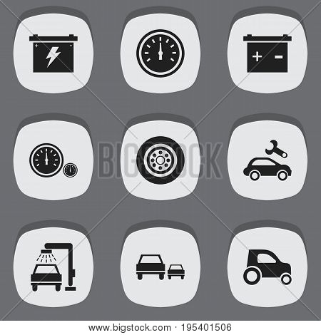 Set Of 9 Editable Car Icons. Includes Symbols Such As Accumulator, Speedometer, Automotive Fix And More. Can Be Used For Web, Mobile, UI And Infographic Design.