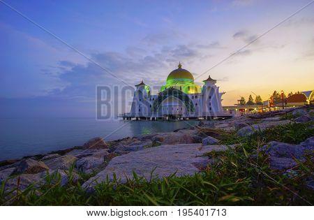 Malacca Straits Mosque ( Masjid Selat Melaka), It Is A Mosque Located On The Man-made Malacca Island