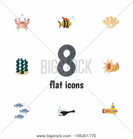 Flat Icon Marine Set Of Seafood, Seashell, Fish And Other Vector Objects. Also Includes Pearl, Submarine, Cancer Elements.