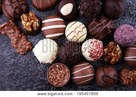 A Lot Of Variety Chocolate Pralines, Belgian Confectionery Gourmet Chocolate