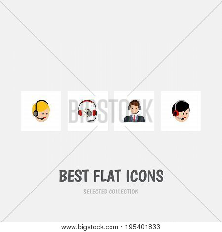 Flat Icon Center Set Of Operator, Call Center, Headphone And Other Vector Objects. Also Includes Call, Help, Hotline Elements.