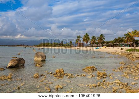 Play Giron Cuba - January 30 2017: On the beach Playa Giron Cuba. This beach is famous for its role during the Bay of Pigs invasion.