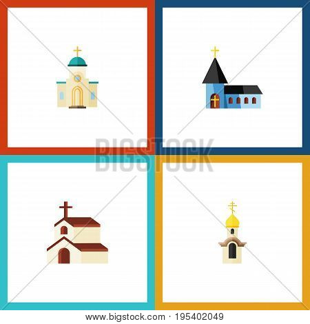 Flat Icon Building Set Of Religious, Religion, Christian And Other Vector Objects. Also Includes Religion, Religious, Architecture Elements.