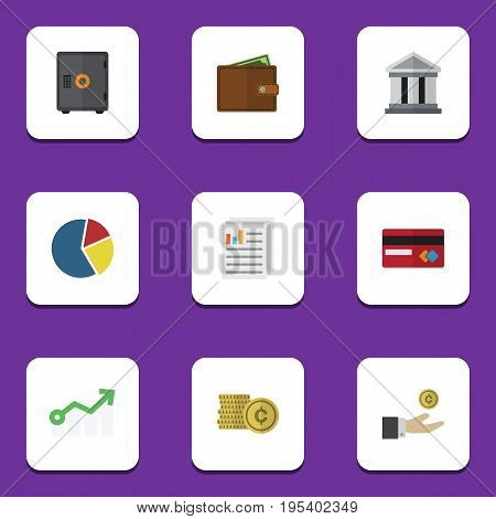 Flat Icon Incoming Set Of Strongbox, Document, Billfold And Other Vector Objects. Also Includes Bank, Mastercard, Cash Elements.