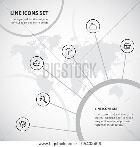 Set Of 6 Editable Trade Icons. Includes Symbols Such As Umbrella, Box Clear, Money Purse And More. Can Be Used For Web, Mobile, UI And Infographic Design.