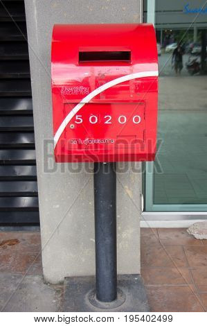 Red Postbox At Suandok Park Parking Building