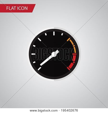 Isolated Speedometer Flat Icon. Tachometr Vector Element Can Be Used For Speedometer, Tachometr, Speed Design Concept.