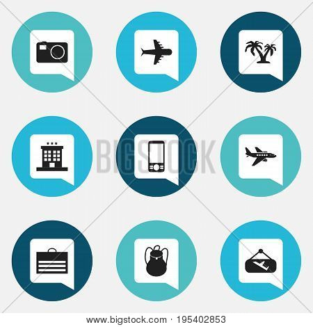 Set Of 9 Editable Journey Icons. Includes Symbols Such As Camera, Aero, Tree And More. Can Be Used For Web, Mobile, UI And Infographic Design.