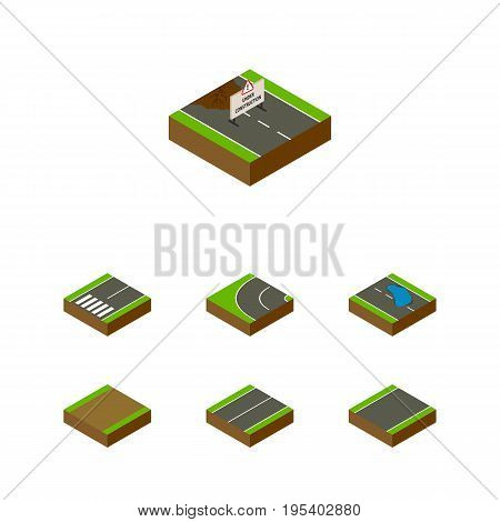 Isometric Way Set Of Repairs, Plash, Plane And Other Vector Objects. Also Includes Plane, Footpath, Flat Elements.