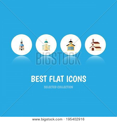 Flat Icon Church Set Of Catholic, Religious, Religion And Other Vector Objects. Also Includes Religious, Catholic, Faith Elements.