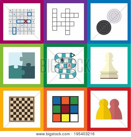 Flat Icon Play Set Of Cube, Sea Fight, Jigsaw And Other Vector Objects. Also Includes Battle, Ship, Rubik Elements.