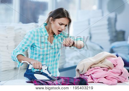 Woman In Shock Because Of Lack Of Time For Ironing