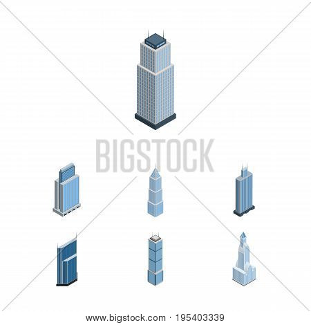 Isometric Construction Set Of Exterior, Residential, Tower And Other Vector Objects. Also Includes Skyscraper, Exterior, Residential Elements.