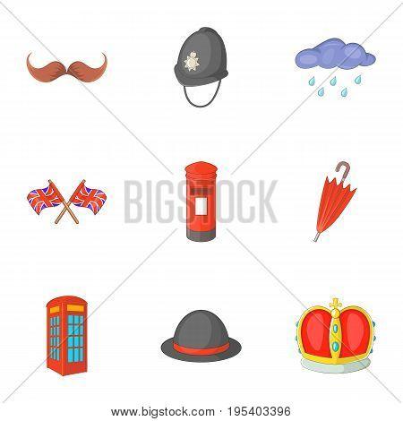 United Kingdom things icons set. Cartoon set of 9 United Kingdom things vector icons for web isolated on white background