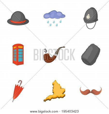 Typical London icons set. Cartoon set of 9 typical London vector icons for web isolated on white background
