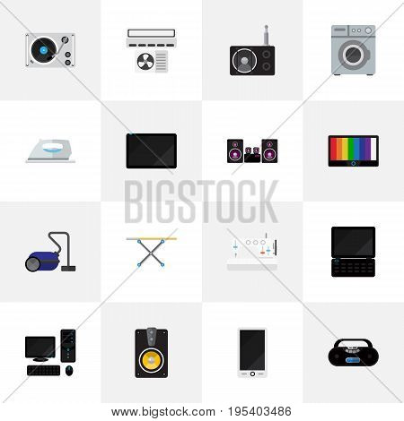 Set Of 16 Editable Technology Icons. Includes Symbols Such As Sweeper, Personal Computer, Appliance And More. Can Be Used For Web, Mobile, UI And Infographic Design.