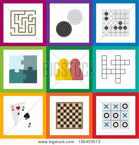 Flat Icon Games Set Of Ace, Labyrinth, People And Other Vector Objects. Also Includes Alphago, Table, Crossword Elements.