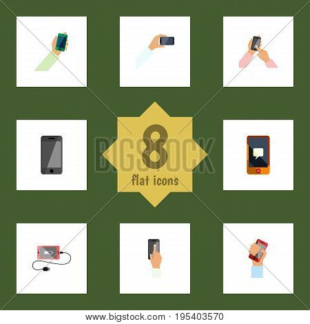 Flat Icon Smartphone Set Of Chatting, Interactive Display, Touchscreen And Other Vector Objects. Also Includes Keep, Smartphone, Touchscreen Elements.
