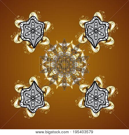 Pattern on brown background. Design. Vector seamless background for Christmas with decorative snowflakes.