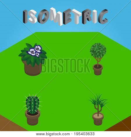 Isometric Houseplant Set Of Houseplant, Tree, Flowerpot And Other Vector Objects. Also Includes Flower, Flowerpot, Botany Elements.