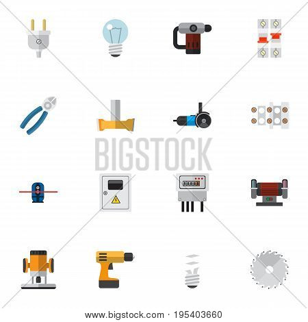 Set Of 16 Editable Electric Icons. Includes Symbols Such As Panel, Lightbulb, Nipper And More. Can Be Used For Web, Mobile, UI And Infographic Design.