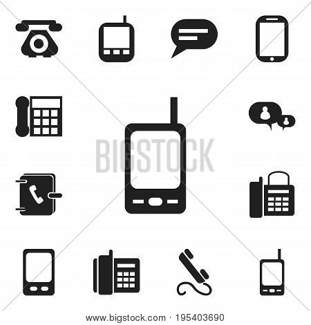 Set Of 12 Editable Gadget Icons. Includes Symbols Such As Retro Telecommunication, Mobile, Phone And More. Can Be Used For Web, Mobile, UI And Infographic Design.