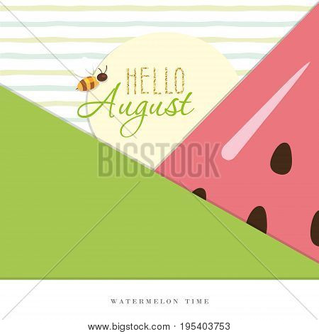 Hello august. Summer abstract background. Vector EPS10