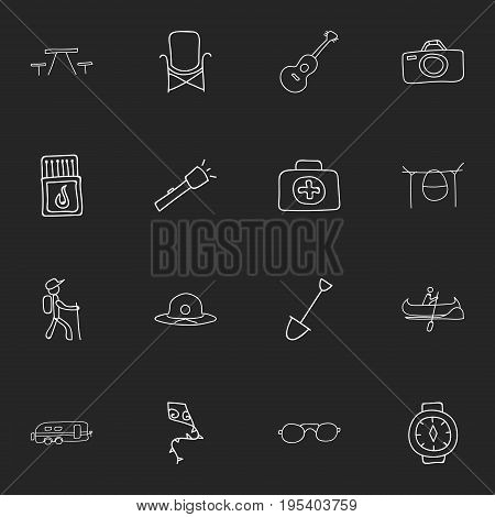 Set Of 16 Editable Trip Icons. Includes Symbols Such As Beach Hat, Camper, Flying Toy And More. Can Be Used For Web, Mobile, UI And Infographic Design.