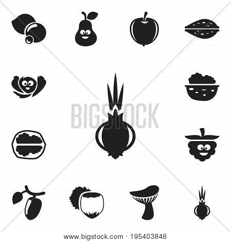 Set Of 12 Editable Cookware Icons. Includes Symbols Such As Plum, Walnut, Filbert And More. Can Be Used For Web, Mobile, UI And Infographic Design.