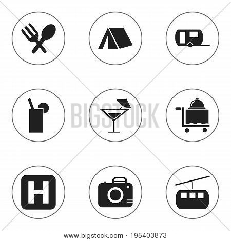 Set Of 9 Editable Holiday Icons. Includes Symbols Such As Room Service, Helipad, Caravan And More. Can Be Used For Web, Mobile, UI And Infographic Design.
