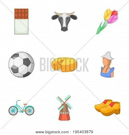 Rural things icons set. Cartoon set of 9 rural things vector icons for web isolated on white background