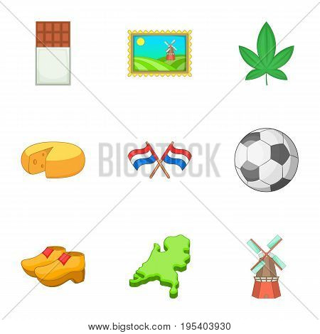 Netherlands attraction icons set. Cartoon set of 9 Netherlands attraction vector icons for web isolated on white background